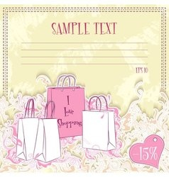 Message card with shopping bags vector