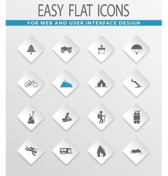 Active recreation icons set vector