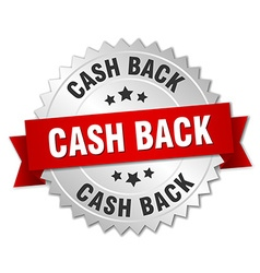 Cash back 3d silver badge with red ribbon vector