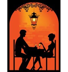 Couple dinning silhouette vector