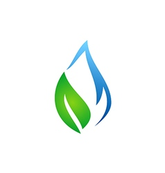 Abstract ecology water and leaf logo vector