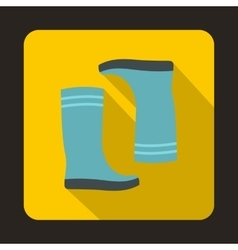 Blue rubber boots icon flat style vector