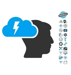 Brainstorming icon with copter tools bonus vector