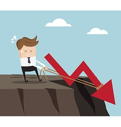 businessman pull up rope for stop down red arrow vector image vector image