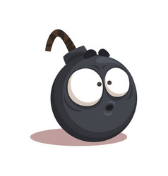 Cartoon of funny bomb with surprised vector