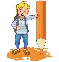 Cartoon schoolboy near big pencil esp10 vector