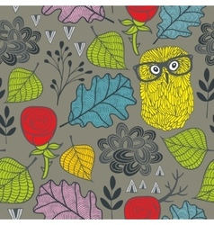 Endless pattern with autumn plants red roses and vector