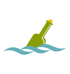 Glass green bottle in a water icon isolated vector
