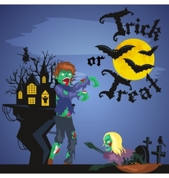 Halloween night background with pumpkin full moon vector