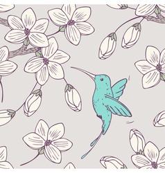 Hand drwn seamless psttern with colibri bird vector