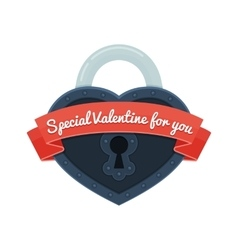 heart lock with ribbon vector image vector image