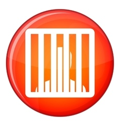 Man behind jail bars icon flat style vector