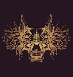 muzzle of a wolf is an for creating sketches of vector image