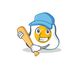 Playing baseball fried egg character cartoon vector