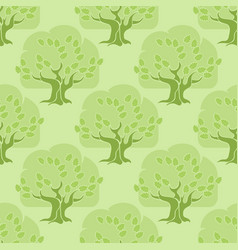 Seamless pattern tree oak on light green vector