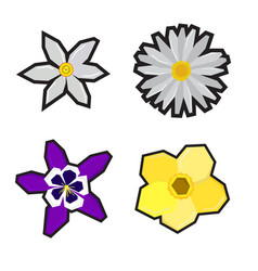 set of geometric flowers vector image vector image