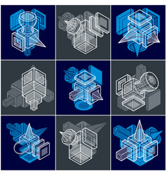Set of isometric abstract geometric shapes vector