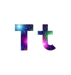 Set of letters firework T vector image