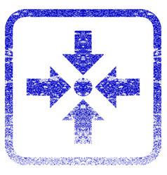 Shrink arrows framed textured icon vector