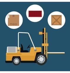 Truck forklift warehouse machine work box vector