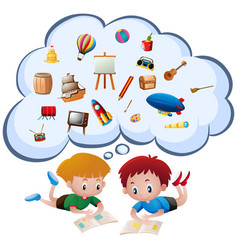 two boys reading books vector image