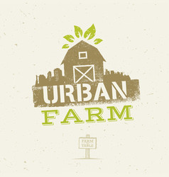 urban city farm organic eco concept healthy food vector image vector image