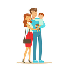 Young happy couple with little baby boy colorful vector