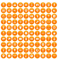 100 sport journalist icons set orange vector