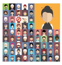 Set of people icons in flat style with faces 04 a vector