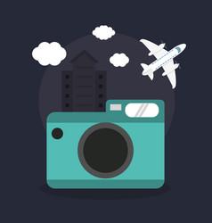 photo camera airplane vacations vector image