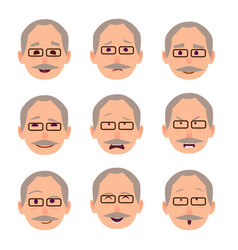 Old male people face emotions collection on white vector