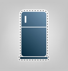 Refrigerator sign   blue icon vector