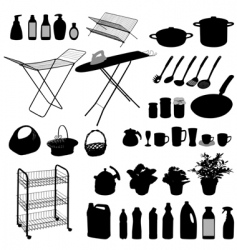kitchen silhouettes vector image