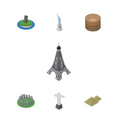 Isometric cities set of england chile  coliseum vector