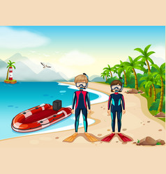 Two scuba divers and boat in the sea vector