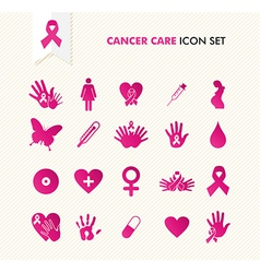 Cancer awareness elements icon set eps10 file vector