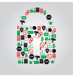Security icons in padlock shape eps10 vector