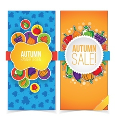 Autumn banner set with fruits and vegetables vector