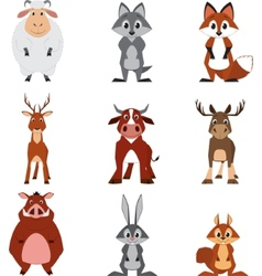 Cute colorful exotic animals collection vector