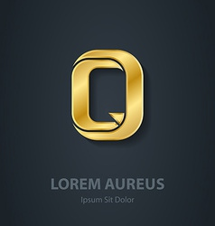 Letter q elegant gold font template for company vector