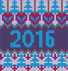 2016 pattern background of new year with knitted vector