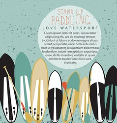 Stand up paddle set in flat design style vector