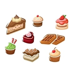 Cupcakes cakes dessert and waffles vector
