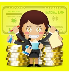 Business woman with many arms and big golden coins vector