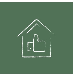 Great house icon drawn in chalk vector