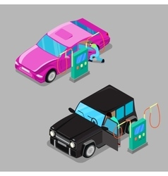Isometric car cleaner station driver cleaning car vector