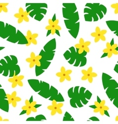 Seamless pattern with tropic leaves and flowers on vector