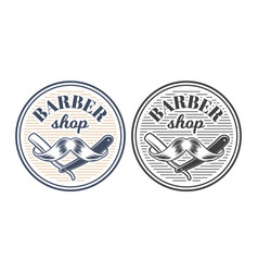 Barber shop equipment engraved style vector