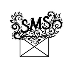 Black-and-white logo envelope sms in floral style vector