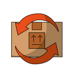 Box carton with arrows delivery icon vector